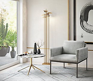Canton Gray Velvet Chair, Gray, rollover