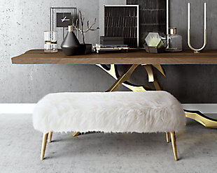 Churra White Sheepskin Bench, , rollover