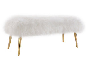 Churra White Sheepskin Bench, , large