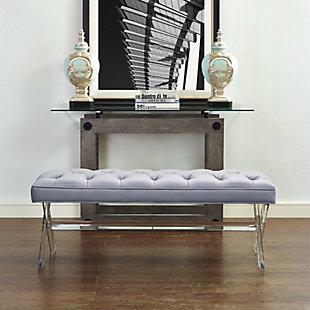 Claira Gray Lucite Bench, Gray, rollover