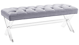 Claira Gray Lucite Bench, Gray, large