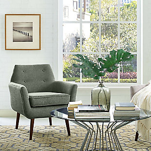 Clyde  Beige Linen Chair, Gray, rollover