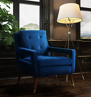 Draper Navy Velvet Chair, Navy, rollover