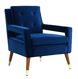 Draper Navy Velvet Chair, Navy, large