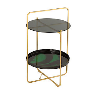 Enamel Black/Green Side Table, , large