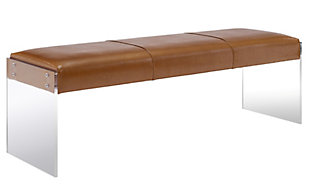 Envy Brown Vegan Leather/Acrylic Bench, Brown, large