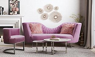 Eva Blush Velvet Chair, , rollover