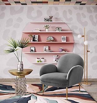 Gwen Gray Velvet Chair, Gray, rollover