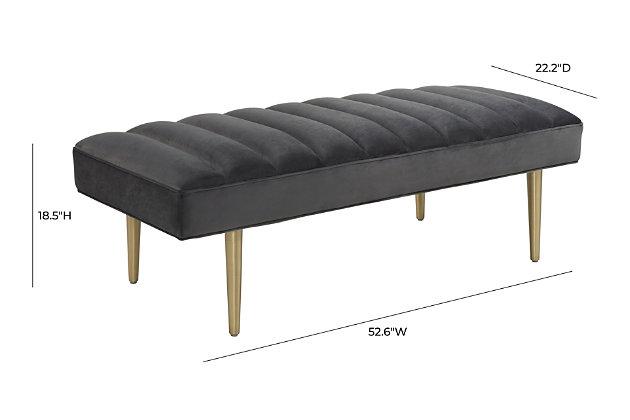 Jax Gray Velvet Bench, , large