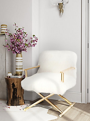 Jodi White Sheepskin Chair, , rollover