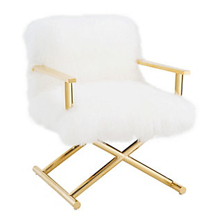Jodi White Sheepskin Chair, , large