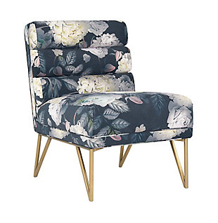 Kelly Slub Gray Velvet Chair, Black, large