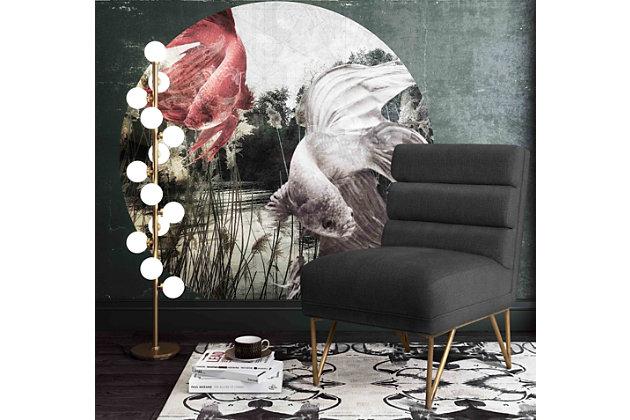 Kelly Slub Gray Velvet Chair, , large