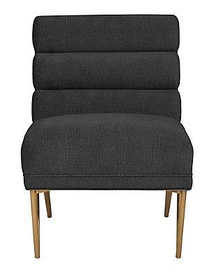 Kelly Slub Gray Velvet Chair, Black, large