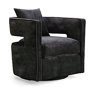 Kennedy Black Swivel Chair, Black, large
