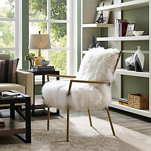 Lena White Sheepskin Chair, , rollover