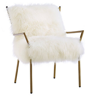 Lena White Sheepskin Chair, , large