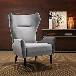 Logan Gray Velvet Chair, Gray, rollover