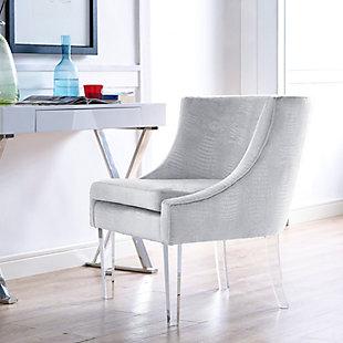 Myra Silver Croc Chair, Gray, rollover