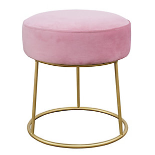 Nina Blush Velvet Stool, , large