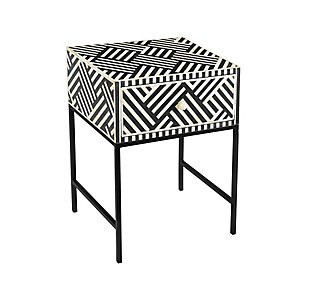 Noire Bone Inlay Side Table, , large