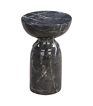 Rue Black Marble Side Table, Black, large