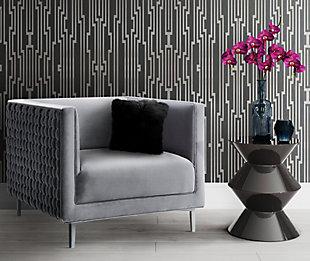 Sal Gray Woven Chair, Gray, rollover
