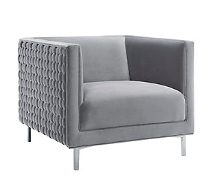 Sal Gray Woven Chair, Gray, large
