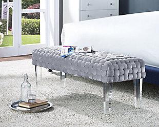 Sal Woven Gray Velvet Bench, Gray, rollover