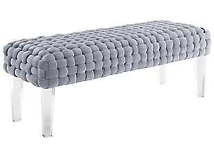 Sal Woven Gray Velvet Bench, Gray, large