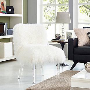 Sophie White Sheepskin Lucite Chair, , rollover