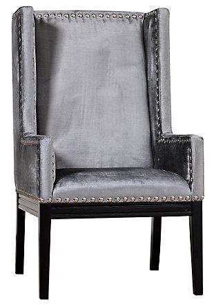 Tribeca  Gray Velvet Chair, Gray, large