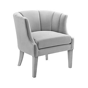 Turin Gray Velvet Chair, Gray, large