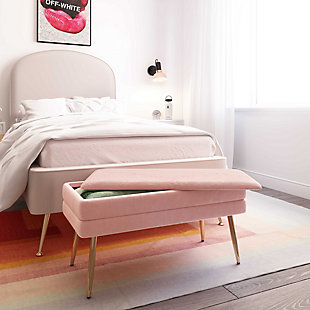 Ziva Blush Storage Bench, Pink, large