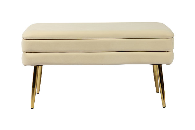 Ziva Cream Storage Bench, Beige, large