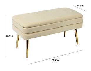Ziva Cream Storage Bench, Beige, large