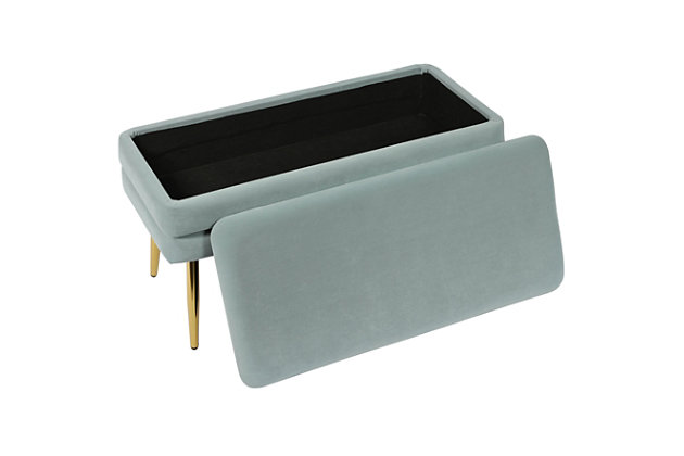 Ziva Sea Blue Storage Bench, Blue, large