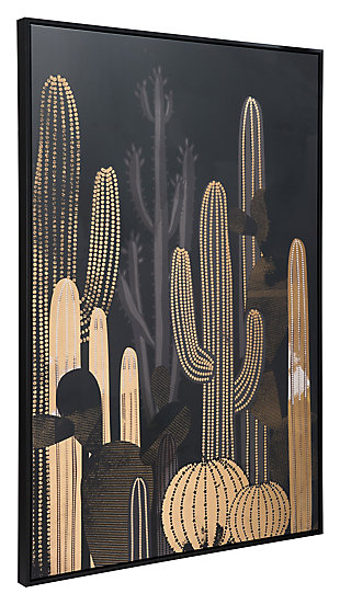 "Zuo Cactus At Dusk 32"" x 48"" Black and Gold Canvas, , rollover"