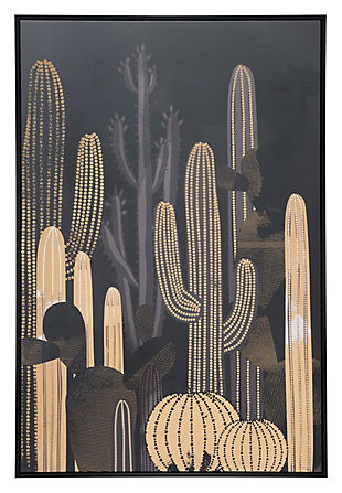 "Zuo Cactus At Dusk 32"" x 48"" Black and Gold Canvas, , large"