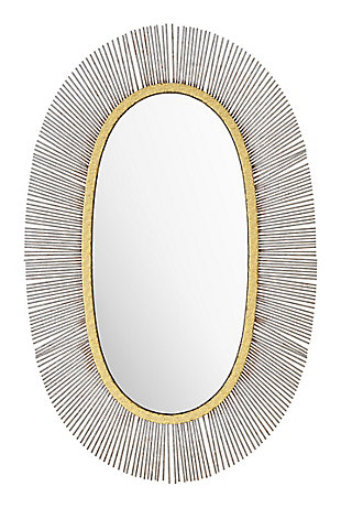 "Zuo Juju Oval 24"" x 38"" Black and Gold Mirror, , large"