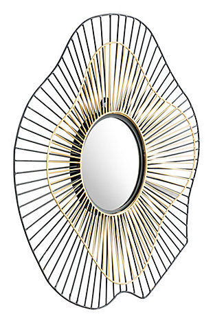 "Zuo Comet Round 22"" x 22"" Black and Gold Mirror, , rollover"