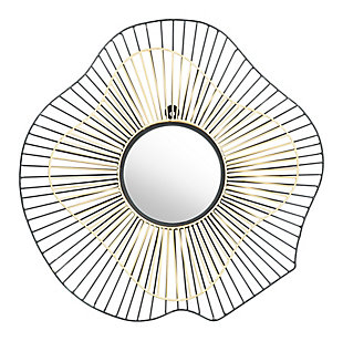 "Zuo Comet Round 22"" x 22"" Black and Gold Mirror, , large"