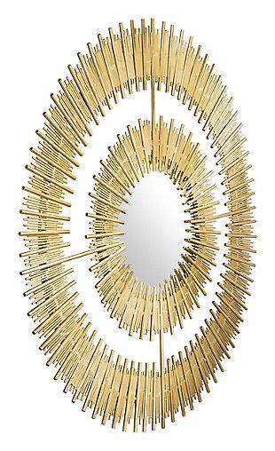 """Zuo Zeus Round 35"""" x 35"""" Gold Mirror, , rollover"""