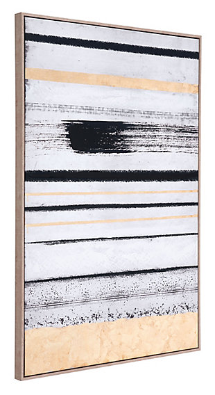 "Zuo Vertical Brush Strokes 33"" x 48"" Black and Gold Canvas, , rollover"