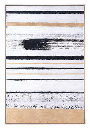 "Zuo Vertical Brush Strokes 33"" x 48"" Black and Gold Canvas, , large"