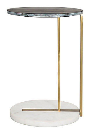 Zuo Zenith Black White and Gold Side Table, , large