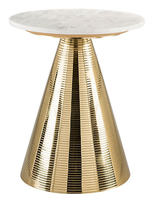 Zuo Pure White and Gold Side Table, , rollover