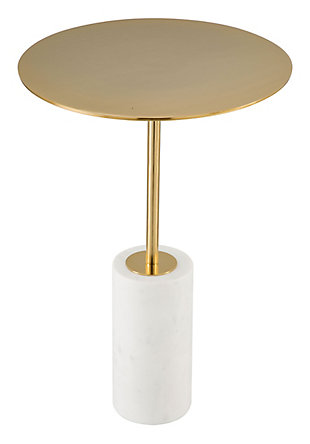 Zuo Asa White and Gold Side Table, , large