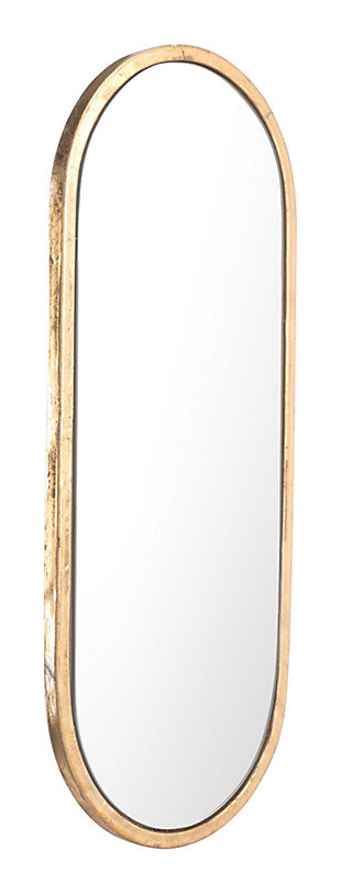 "Zuo Oval Gold 8"" x 19"" Mirror, , rollover"