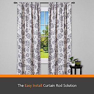 "Kenney Kenney® Lilly Cage 5/8"" Fast Fit™ Easy Install Decorative Window Curtain Rod, 36-66"", Black, Black/Gray, rollover"